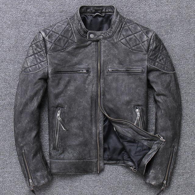 MOTORCYCLE GENUINE COW LEATHER JACKET (4 VARIAN)