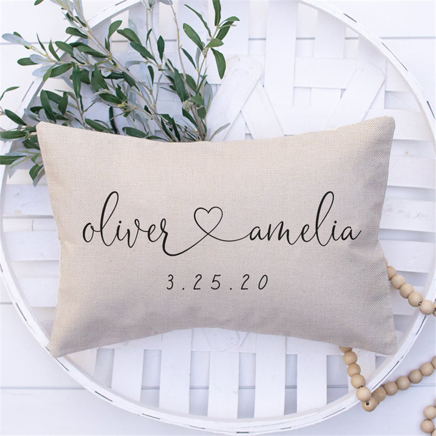 Personalized Wedding Gifts Pillow Cover - Gift For Couples - Throw Pillow Cover Custom Couples Name Gift & Established Date