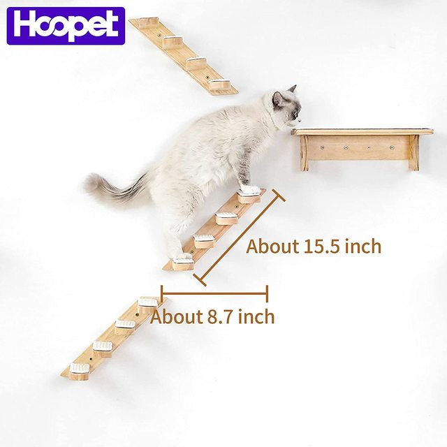 HOOPET Cat Stairs Wall Mounted For Climbing Solid Wood Cat Tree For Scratching Easy to Install Shelves For Cat Pet Furniture 1