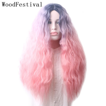 WoodFestival Curly Corn Fluffy Womens Synthetic Wigs Heat Resistant Female Cosplay Wig Long Hair Women Ombre Blonde Brown Pink woodfestival 20inch women wigs hair heat resistant black to navy blue curly synthetic wig cosplay