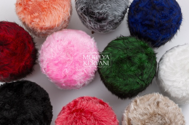Round Pouf Covered Ottoman  2