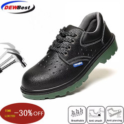 Leather steel toe cap work safety shoes mens construction electrical insulation waterproof boots outdoor sports shoes men