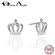 925 Sterling Silver Simple Minimalist Crown Stud Earrings For Women Party Fine Jewelry