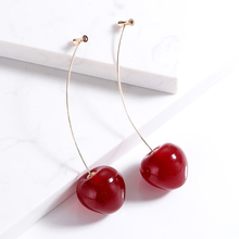 Cute Fruit Cherry Earrings Acrylic Long Red For Women Removable Elegant Jewelry Wedding Accessories Jewellery