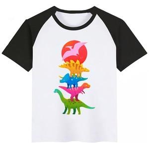 Детская футболка с рисунком динозавров, Милая футболка с принтом «Booba» забавная Одежда для маленьких мальчиков и девочек Летняя футболка с ...