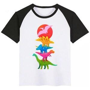 Crianças de dinossauros Booba Bonito Impressão Dos Desenhos Animados T-shirt Das Meninas/Meninos Engraçados Do Bebê Roupa Dos Miúdos Verão Curto Camiseta Manga