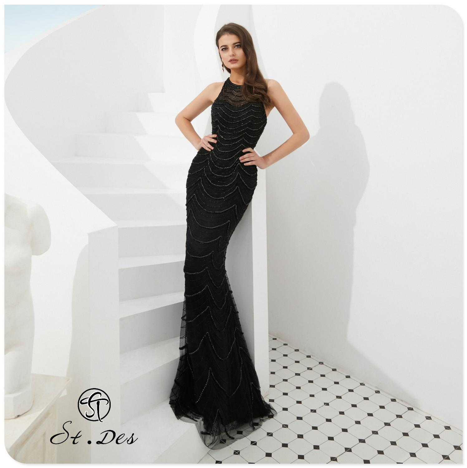 NEW Arrival 2020 St.Des Mermaid Round Neck Sleeveless Russian Black Sequins Floor Length Evening Dress Party Dress Party Gown