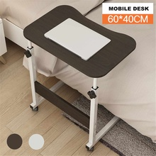 Desk Laptop-Table Wheels Computer with Wood Beside Bed Sofa Lifting Mobile Simple