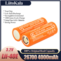 LiitoKala-batería recargable lifepo4 Lii-40E, 3,2 V, 26700, 4000mAh, batería de repuesto de hojas de descarga con tasa de 10A, en lugar de 26650