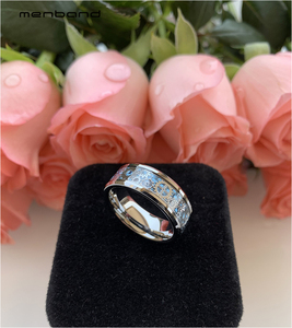 Image 5 - Mannen Vrouwen Tungsten Wedding Band Met Mechanische Tandwiel En Licht Blauw Carbon Fiber Inlay 8 Mm Ring Box Beschikbaar