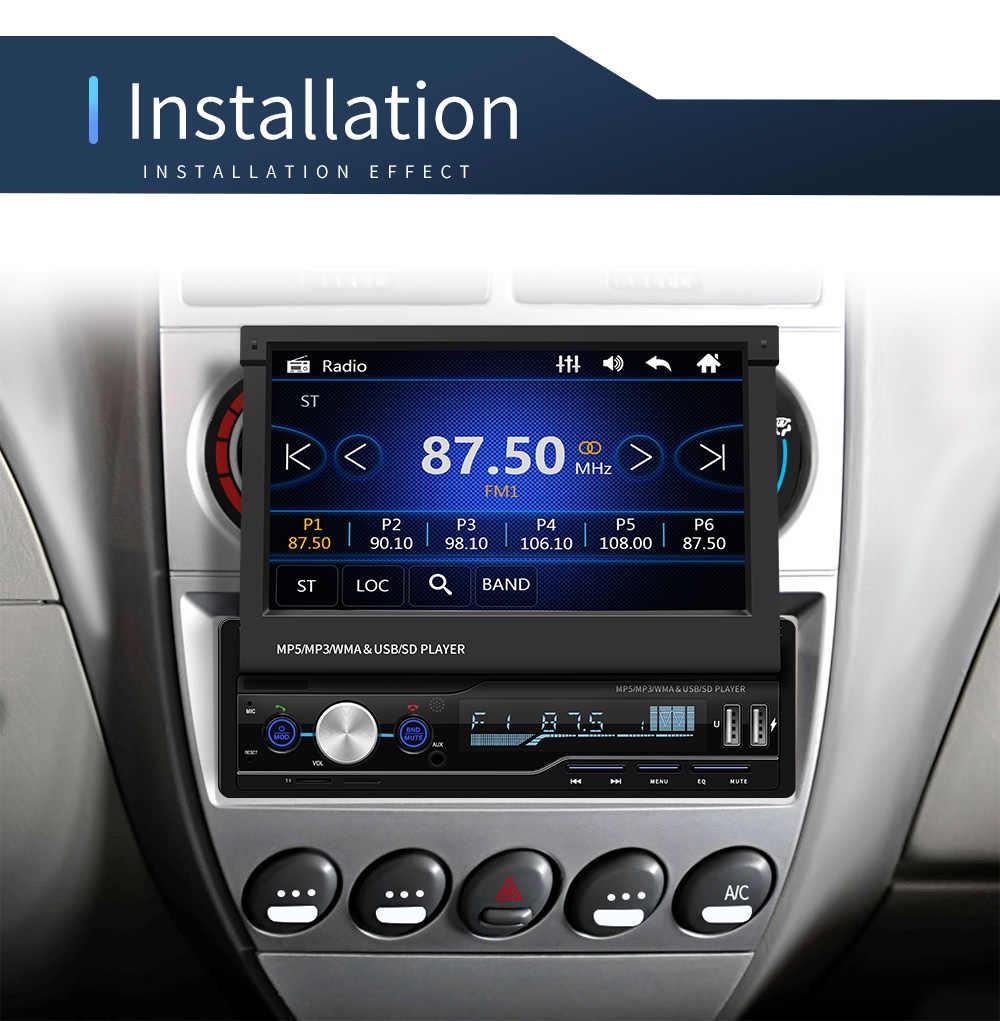 "Autoradio Mp5 lecteur MP3 Autoradio Bluetooth RDS 7 ""1 Din GPS Audio stéréo Auto pliage écran FM/AM miroir lien"