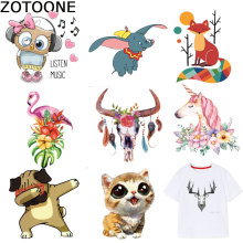 ZOTOONE Big Size Animal Patch Unicorn Cat Iron on Patches for Clothing Iron-on Transfers A-level Washable Sticker A