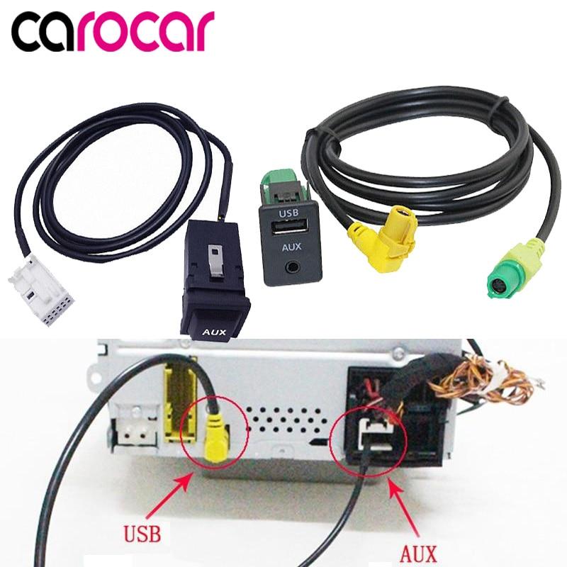 Carocar Car USB AUX Switch Cable USB Audio Adapter RCD510 RNS315 For VW Passat B6 B7 Golf 5 MK5 Golf 6 MK6 GTI Jetta 5 MK5 CC