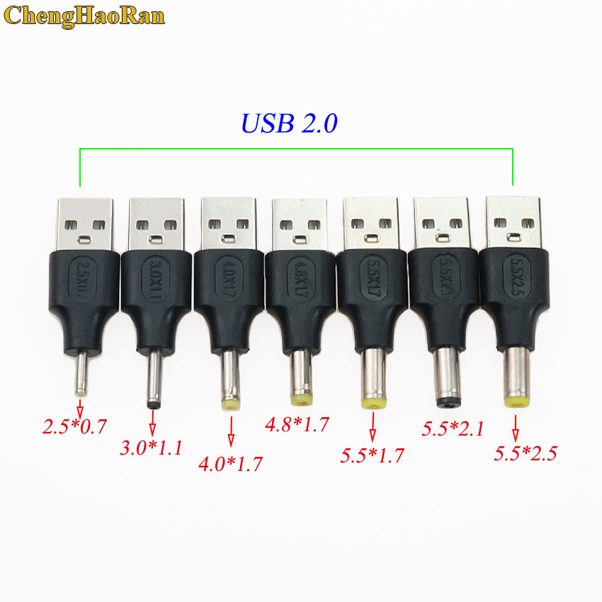 USB 2.0 Type A Male To <font><b>2.5</b></font>*<font><b>0.7</b></font> 3.0*1.1 4.0*1.7 4.8*1.7 <font><b>5.5</b></font>*1.7 <font><b>5.5</b></font>*<font><b>2.5</b></font> <font><b>5.5</b></font> x <font><b>2.1</b></font> mm Plug 5V DC Power Supply Adapter Connector image