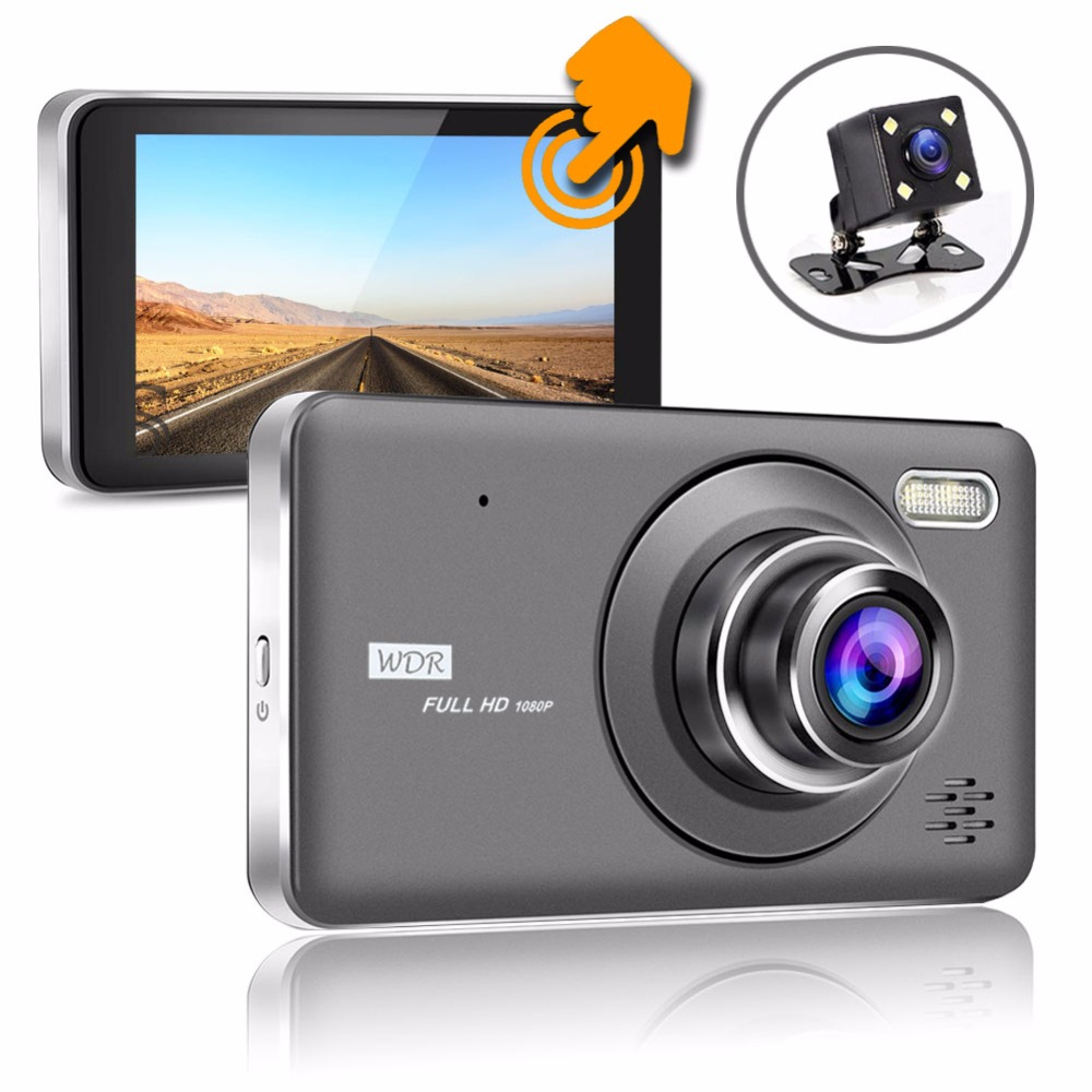 Vikewe Car DVR Full HD 1080P 4.0 Inch IPS Touch Video Recorder Camera Dual Lens with Rear View Camera Auto Registration Dash Cam