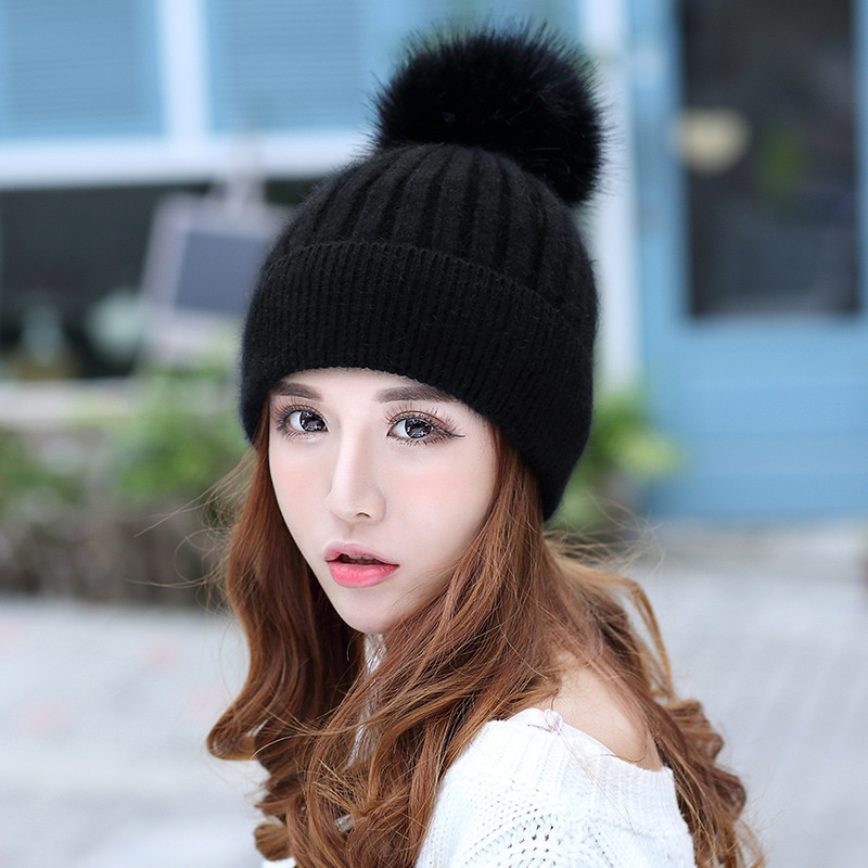 Winter Hats Woman Scarf Suit Keep Warm Knitting Increase Down Thickening Joker Wool Hat Tide