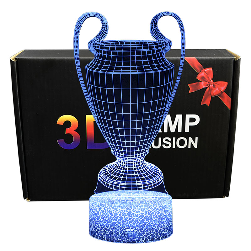 UEFA Football Cup 3D Optical Illusion LED Night Lights Soccer Theme Desk Lamp Creative Gifts For Football Fans