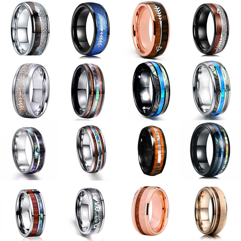 16 Stijl 8 Mm Fashion Luxe Tungsten Carbide Rvs Ring Hout Inlay Pijl En Shell Inlay Ring Wedding Mannen sieraden Gift