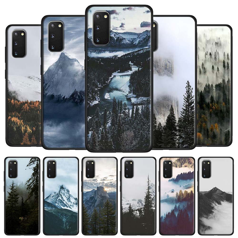 Black <font><b>White</b></font> Mountain Pine Tree Forest Mountain Peak Mist <font><b>Case</b></font> Coque for <font><b>Samsung</b></font> Galaxy S10 S20 Ultra 5G S8 S9 S10 S20 Plus Note image