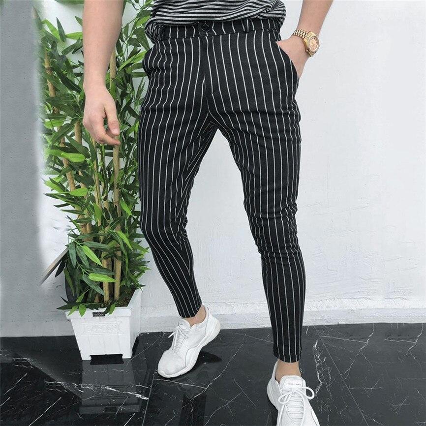 Compre Pantalones De Chandal Para Hombres Casual Slim Fit Skinny Negocios Traje Formal Pantalones De Vestir Pantalones Negro Mens Sweatpants1 A 14 58 Del Hannahao Dhgate Com