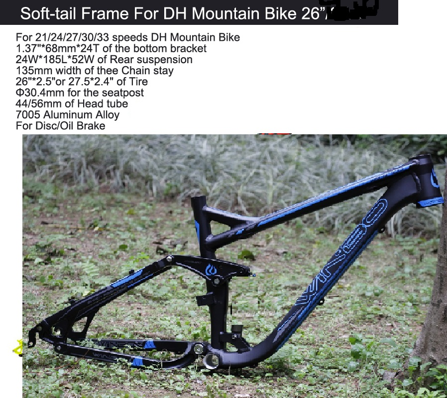Excelli DH Bike Cycling Frame Soft-tail Frame Full Suspension Downhill Mountain Bike26/27.5 Bicicleta Frame F Disc/Oil Brake 17