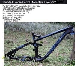 Excelli DH Bike Cycling Frame Soft-tail Frame Full Suspension Downhill Mountain Bike26/27.5 Bicicleta Frame F Disc/Oil Brake 17