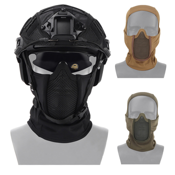 tactical full face mask hunting headgear balaclava mesh mask airsoft paintball game protective mask cs shooting ninja style mask Tactical Airsoft Mask Balaclava Breathable Mesh Headgear Field Hunting Military Paintball BB Gun Shooting Protective Helmet Mask