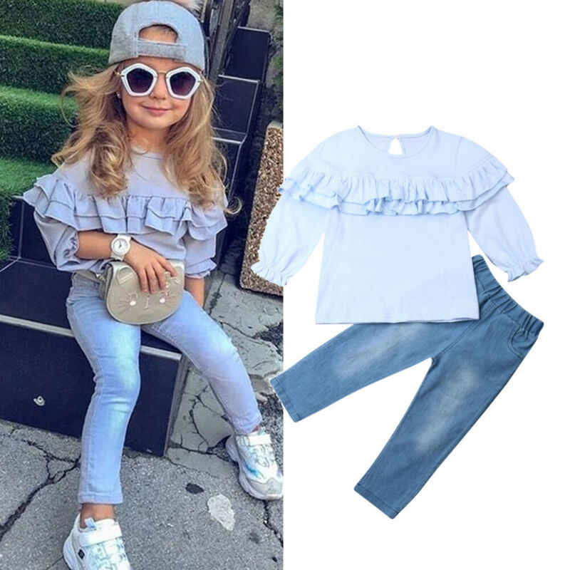 New 2019 Autumn Winter Toddler Kids Baby Girl Ruffle Tops Long Sleeve T shirt Denim Pants 2Pcs Outfit Clothes Set