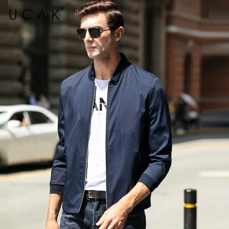 UCAK Brand Men Clothing Streetwear Clothes Men jacket Striped Blouson Homme Casual Jackets  Spring New Arrival Zipper Coat U8070