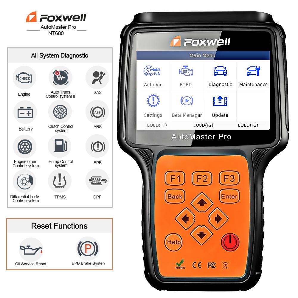 Image 2 - Foxwell nt680 pro todos os sistemas scanner de diagnóstico com luz de óleo/restauração serviço + funções epb versão atualizada do sistema completo nt624Leitores de código & Ferramentas de Verificação   -