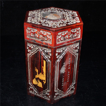 China old Beijing old goods Old Flower color Redwood carving hexagonal box storage box storage box
