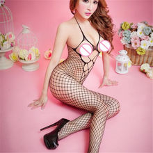 new sexy Womens Erotic Underwear Ladies Lingerie Womens lace Floral Open Crotch Mesh Bodystockings Bodysuits #32(China)