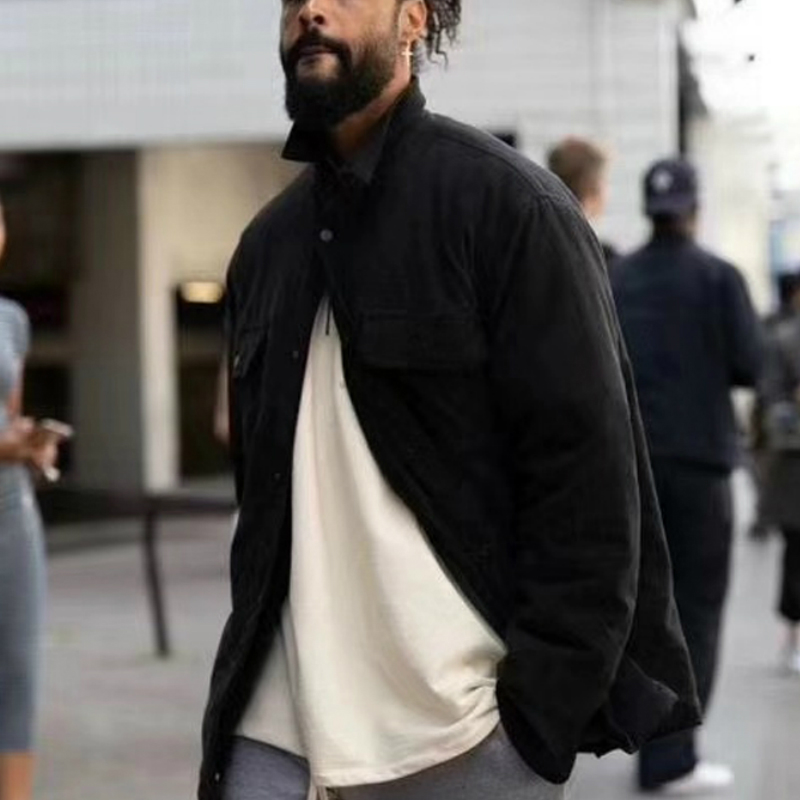 Kanye West Long Sleeve Faux-suede Jacket Quilted Cargo Overshirt Two Pockets Styling