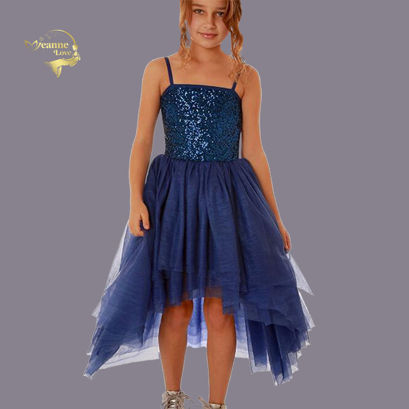 Sequins High Low Junior Bridesmaid   Dresses   Spaghetti Straps Tulle Royal Blue   Flower     Girl     Dress   Teenager Evening Party Gowns 2019