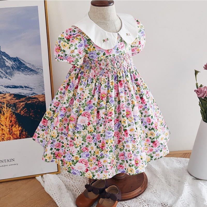2020 Summer New Spanish dress baby girl clothes print short sleeve dress for girls Sweet cute princess dress vestidos Y2933