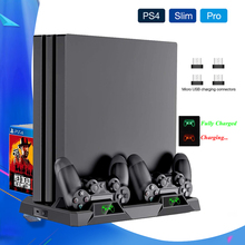 2020 New PS4 Slim Pro Console Stand Cooling Fan Controller Charger Charging Dock Games Storage Play Station 4 PS 4 Accessories ps4 ps4 slim ps4 pro ps vr game disk storage tower console stand holder w controller move charging dock station cooling fan