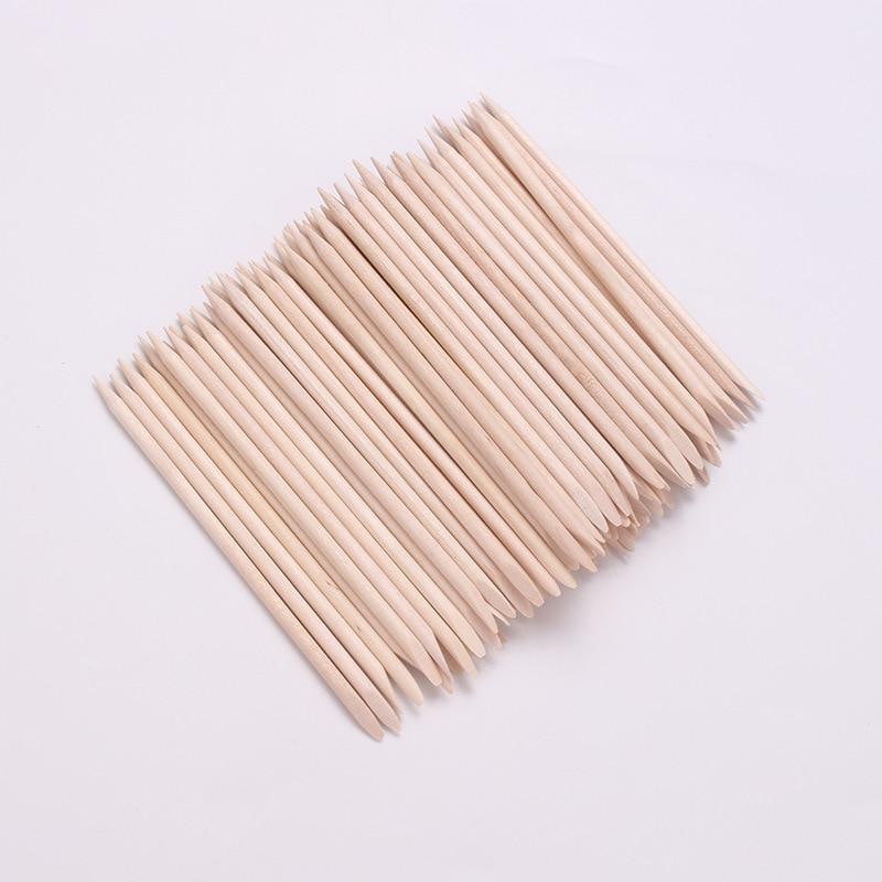 100pcs/set Orange Women Lady Double End Nail Art Wood Stick Cuticle Pusher Remover Pedicure Manicure Tool Set