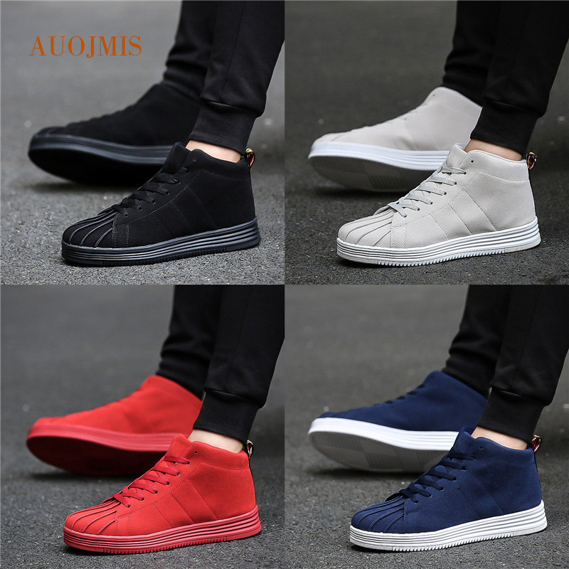 AUOJMIS 2019 tide new high-top canvas shoes shell head flat bottom casual wild gas sports shoes