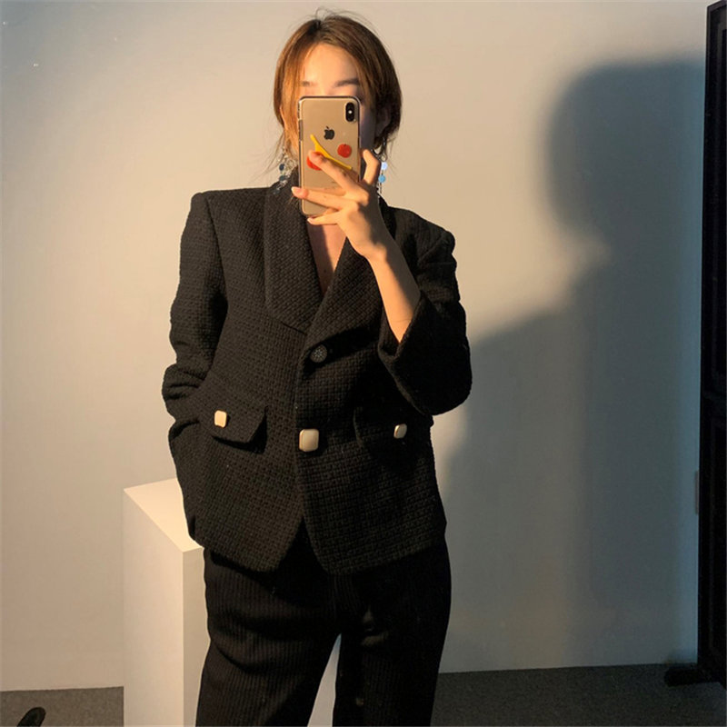 HziriP Loose Plus Women Elegance High Waist Korea All Match 2020 Gentle Chic Woolen Slender Lady Feminine High Street Blazers