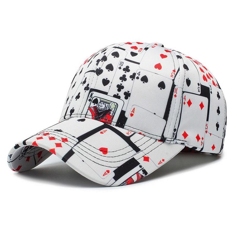 Cotton Poker Print Baseball Cap New Men's And Women's Streetwear Fashion Outdoor Baseball Hats Leisure Boys Girls Sun Cap TG0026