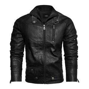 Image 2 - Veste en cuir PU hommes noir hiver automne mode manteaux hommes Style de rue col montant moto Bomber homme cuir pardessus