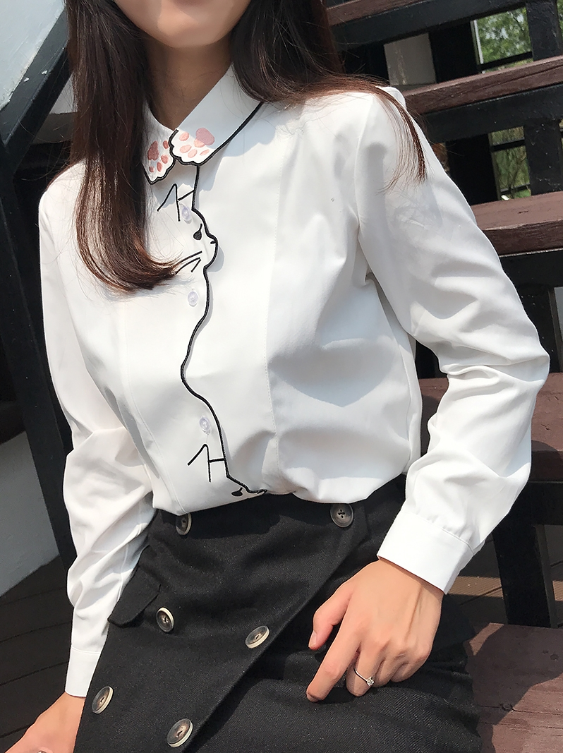 MUMUZI Autumn New College Style Cute Cat Cartoon White Blouse Korean Style Loose Long Sleeve Shirt Simple Design Tops Blue