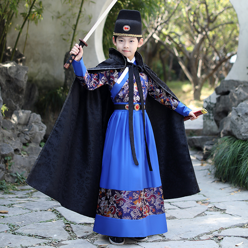 Boy Ancient Warrior Performance Stage Robe Chinese Traditional Clothes Kids Tang Suit  Hanfu Ming Storm Troopers Cosplay