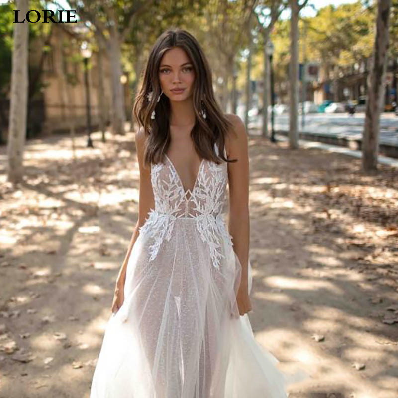 LORIE Sexy Beach Wedding Dress A Line V Neck Vestidos De Novia Spaghetti Straps Appliqued Lace Boho Wedding Bridal Gowns