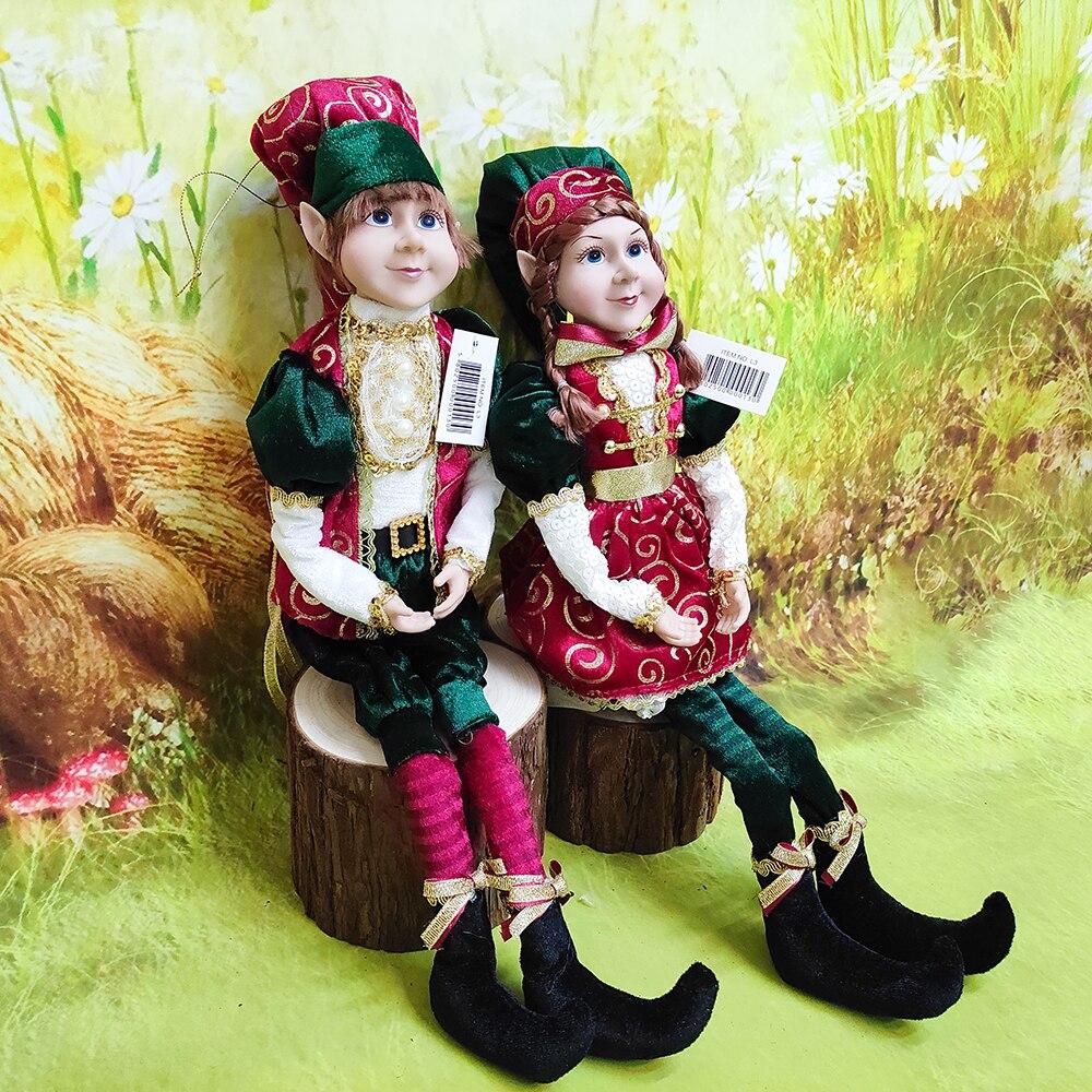 Elf Paar Plüsch Puppen Spielzeug Weihnachten Baum Anhänger Drop Ornamente Hängende Dekoration Navidad Neue Jahr Weihnachten Geschenke für Kinder