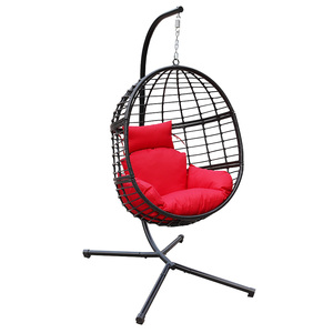ABBLE Egg Shaped Frame Outdoor Furniture Hanging Swing Egg Chair with stand