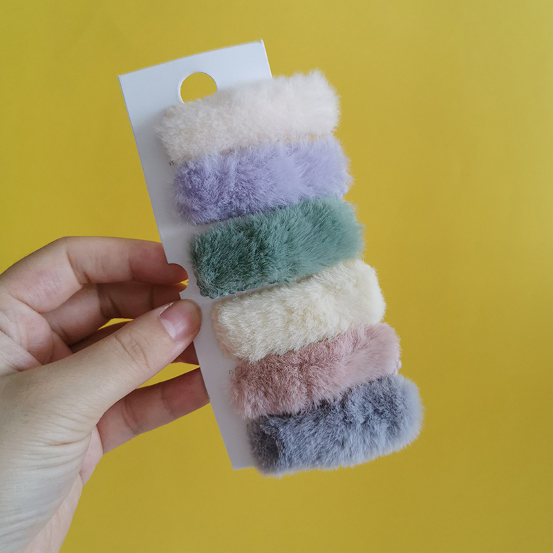 2Pcs/Set New Winter Plush Square Hairpins Candy Color Faux Fur Hair Clip Barrettes Korean Fashion Girls Kids Hair Accessories