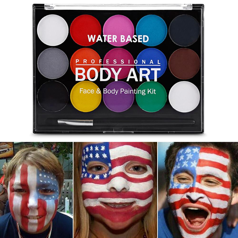 15 Colors Non Toxic Face Painting Body Makeup Safe Water Paint Oil With Brush Christmas Halloween Party Tools Paint Professional