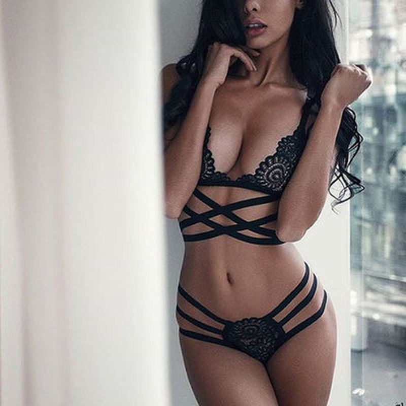 Translucent Bandage Lace Cross Belt Hollow Bra 2019 Sexy Lingerie Bra Set Intimates Ladies Underwear Set Lace Bra And Panty Set