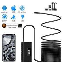 5.5MM kamera inspekcyjna boroskop WiFi 1920*1080P HD półsztywna bezprzewodowa kamera endoskop wąż dla androida i IOS Ipad Huawei